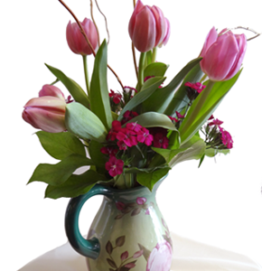 Pink Tulips In Pitcher